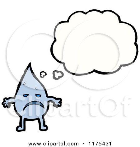 Cartoon of a Drop of Water with a Conversation Bubble - Royalty Free Vector Illustration by lineartestpilot