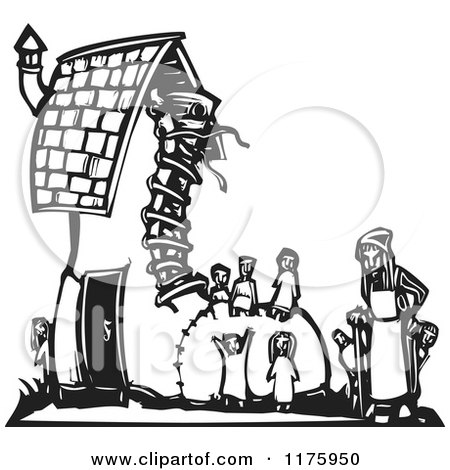 Cartoon of an Old Woman with Kids at a Shoe House Black and White Woodcut - Royalty Free Vector Clipart by xunantunich