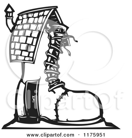 Shoe House Black and White Woodcut Posters, Art Prints