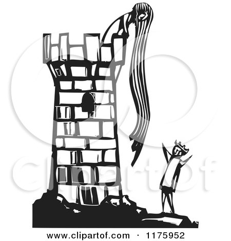 Clipart of Rapunzel Throwing down Her Hair to a Knight Black and White Woodcut - Royalty Free Vector Illustration by xunantunich
