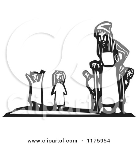 Clipart of an Old Woman with Little Children Black and White Woodcut - Royalty Free Vector Illustration by xunantunich