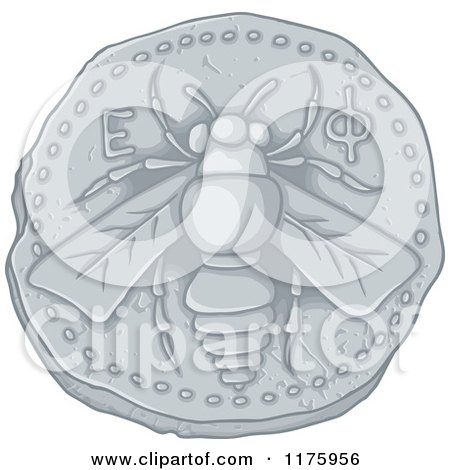 Cartoon of an Ancient Honey Bee Coin - Royalty Free Vector Clipart by Any Vector