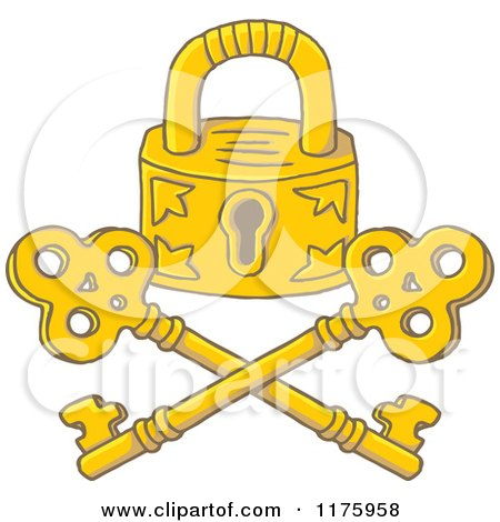 Cartoon of a Golden Jolly Roger Padlock and Crossed Keys - Royalty Free Vector Clipart by Any Vector