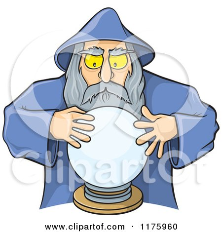 Cartoon of a Wizard Looking into a Crystal Ball - Royalty Free Vector Clipart by Any Vector