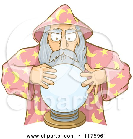 Cartoon of an Old Wizard Looking into a Crystal Ball - Royalty Free Vector Clipart by Any Vector