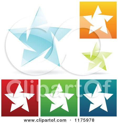 Clipart of Colorful Ice Star Designs - Royalty Free Vector Illustration by cidepix