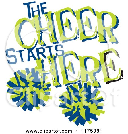 Cartoon of Green and Blue the Cheer Starts Here Text with Pom Poms ...