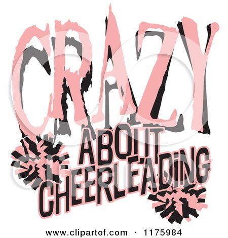 Cartoon of Pink and Black Crazy About Cheerleading Text with Pom Poms - Royalty Free Vector Clipart by Johnny Sajem