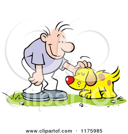 Cartoon of a Happy Man Petting His Dog - Royalty Free Vector Clipart by Johnny Sajem