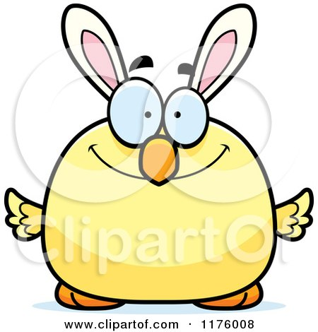 Cartoon of a Happy Easter Chick with Bunny Ears - Royalty Free Vector Clipart by Cory Thoman