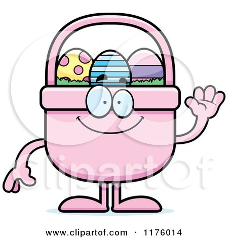 Cartoon of a Waving Easter Basket Mascot - Royalty Free Vector Clipart by Cory Thoman