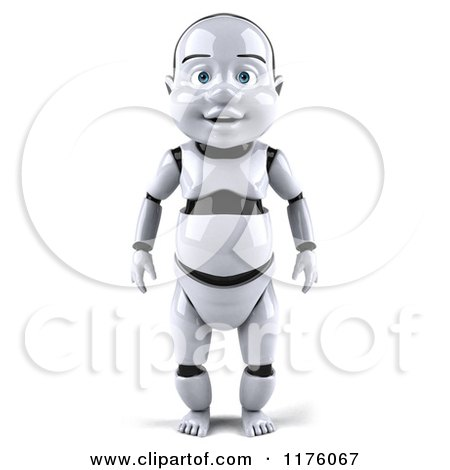 Clipart of a 3d Baby Robot - Royalty Free CGI Illustration by Julos