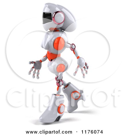 Clipart of a 3d White and Orange Female Techno Robot Walking Left - Royalty Free CGI Illustration by Julos