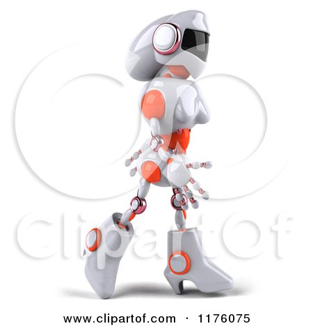 Clipart of a 3d White and Orange Female Techno Robot Walking Right - Royalty Free CGI Illustration by Julos