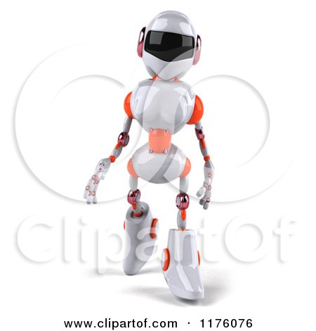 Clipart of a 3d White and Orange Female Techno Robot Walking - Royalty Free CGI Illustration by Julos