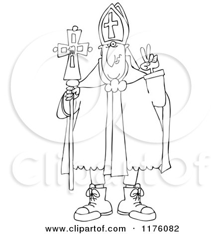 Cartoon of an Outlined Pope Wearing Sneakers - Royalty Free Vector Clipart by djart