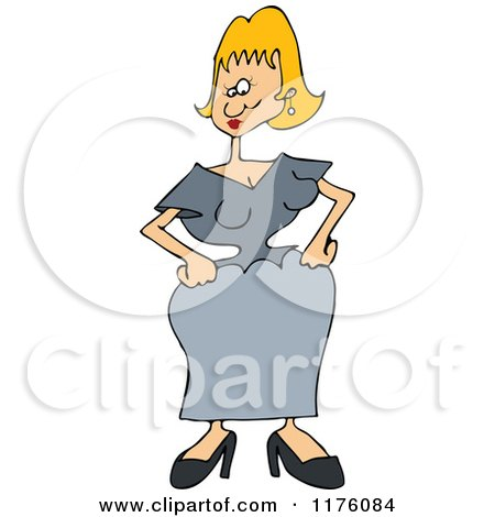 Cartoon of a Woman with a Tiny Waist - Royalty Free Vector Clipart by djart