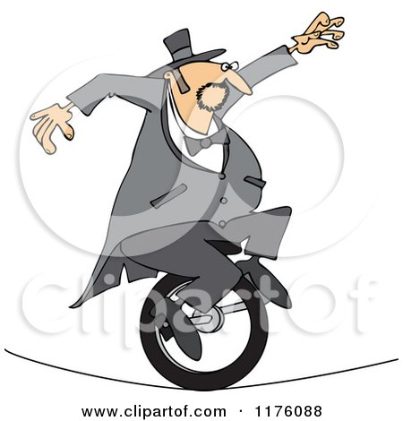Cartoon of a Circus Man Riding a Unicycle on a Tight Rope - Royalty Free Vector Clipart by djart