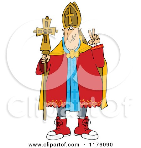 Cartoon of a Pope Wearing Sneakers - Royalty Free Vector Clipart by djart