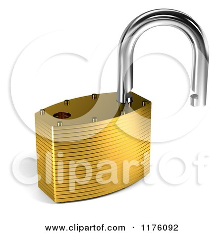 Clipart of a 3d Open Unlocked Padlock - Royalty Free CGI Illustration by stockillustrations