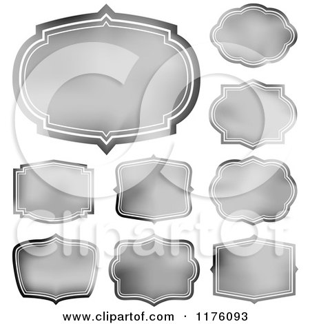 Clipart of Silver Frames and Labels - Royalty Free Vector Illustration by BestVector