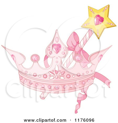 Cartoon of a Magic Wand and Pink Princess Crown - Royalty Free Vector Clipart by Pushkin