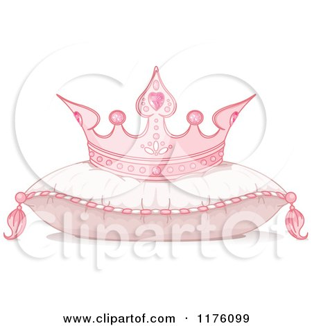 Cartoon of a Pink Princess Crown Resting on a Flully Pillow - Royalty Free Vector Clipart by Pushkin