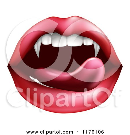 Clipart of a Female Mouth with a Tongue Licking Vampire Fangs - Royalty Free Vector Illustration by AtStockIllustration
