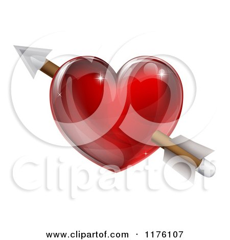 Clipart of a Reflective Red Heart with Cupids Arrow - Royalty Free Vector Illustration by AtStockIllustration