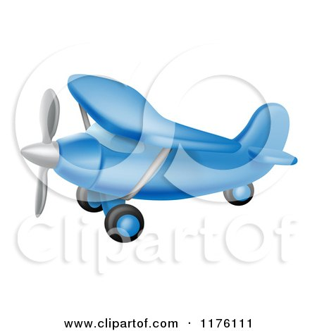 Cartoon of a Flying Blue Airplane - Royalty Free Vector Clipart by AtStockIllustration