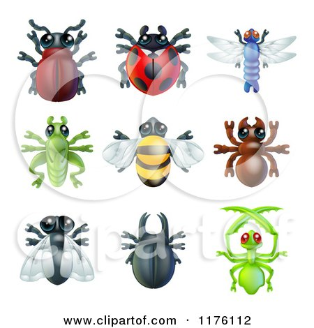 Cartoon of Cute Beetles and Other Bugs - Royalty Free Vector Clipart by AtStockIllustration