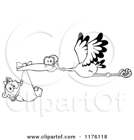 Cartoon of a Black and White Stork Flying a Baby Girl in a Bundle - Royalty Free Vector Clipart by Hit Toon