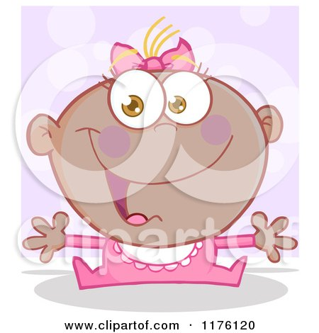 Cartoon of a Happy Black Baby Girl with Open Arms, over Purple - Royalty Free Vector Clipart by Hit Toon