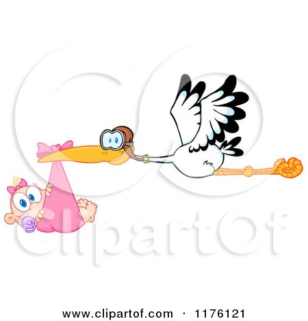 Cartoon of a Stork Flying a Baby Girl in a Pink Bundle - Royalty Free Vector Clipart by Hit Toon
