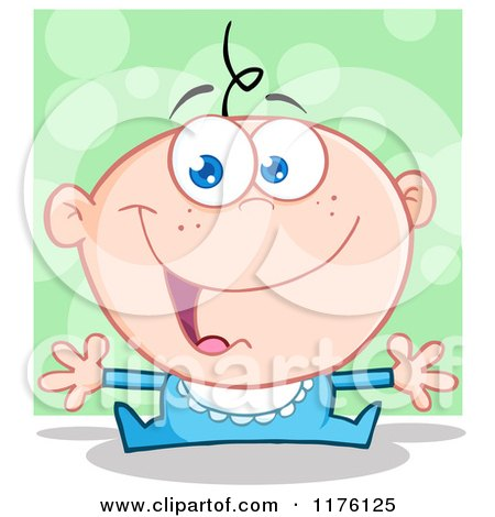 Cartoon of a Happy White Baby Boy with Open Arms, over Green - Royalty Free Vector Clipart by Hit Toon