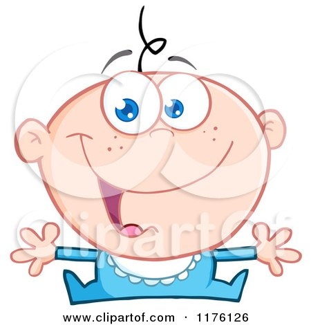 Cartoon of a Happy Caucasian Baby Boy with Open Arms - Royalty Free Vector Clipart by Hit Toon