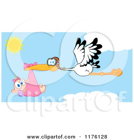 Cartoon of a Stork Flying a Baby Girl Against a Cloudy Sky - Royalty Free Vector Clipart by Hit Toon