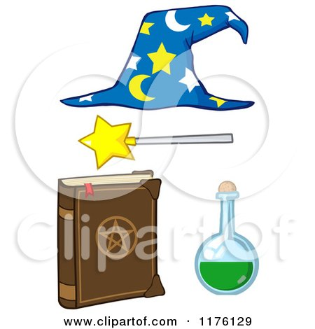 Cartoon of a Magic Book Flask Magic Wand and Wizard Hat - Royalty Free Vector Clipart by Hit Toon