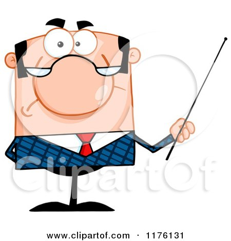 Cartoon of a Grumpy Caucasian Businessman Holding a Pointer Stick - Royalty Free Vector Clipart by Hit Toon