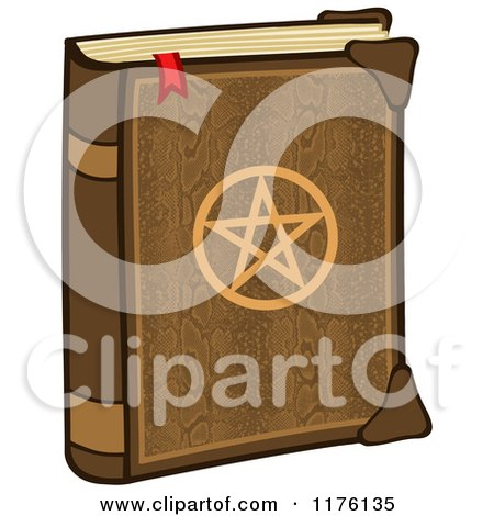 Cartoon of a Magic Spell Book with a Pentagram on the Cover - Royalty Free Vector Clipart by Hit Toon