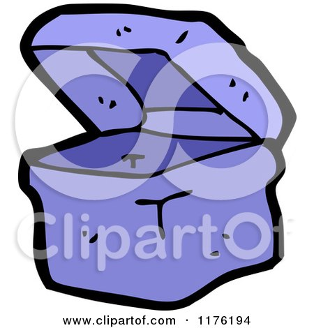 Cartoon of an Open Blue Box or Container - Royalty Free Vector Illustration by lineartestpilot