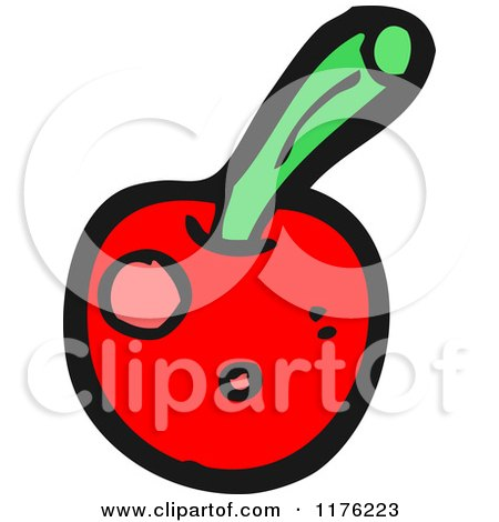 Cartoon of a Cherry with a Stem - Royalty Free Vector Illustration by lineartestpilot