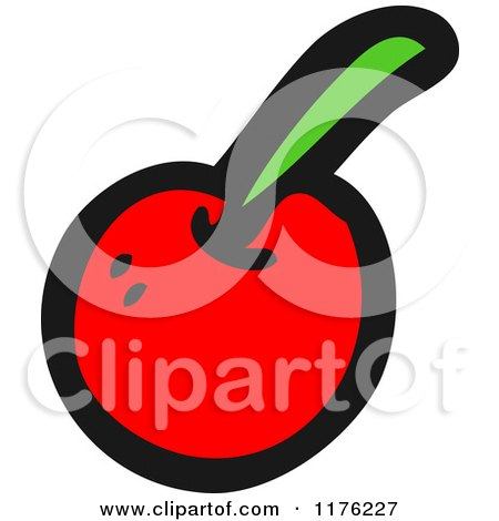 Cartoon of a Red Cherry - Royalty Free Vector Illustration by lineartestpilot