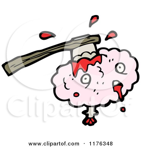 Cartoon of a Ax in a Pink Brain - Royalty Free Vector Illustration by lineartestpilot