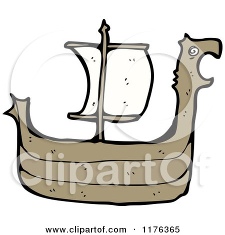 Cartoon of a Viking Ship - Royalty Free Vector Illustration by lineartestpilot