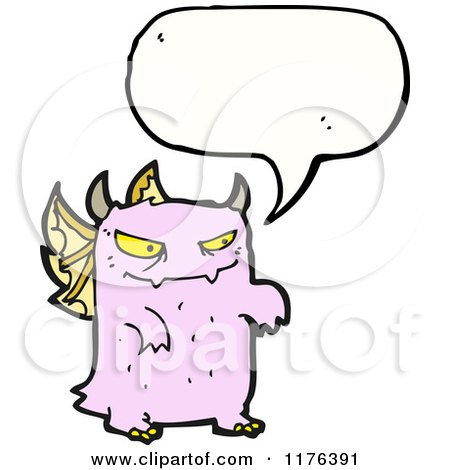 Cartoon of a Pink Monster with Wings and a Conversation Bubble - Royalty Free Vector Illustration by lineartestpilot