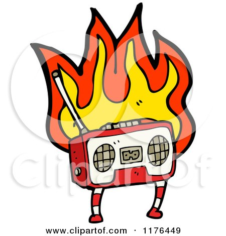 Cartoon of a Flaming Boom Box - Royalty Free Vector Illustration by lineartestpilot