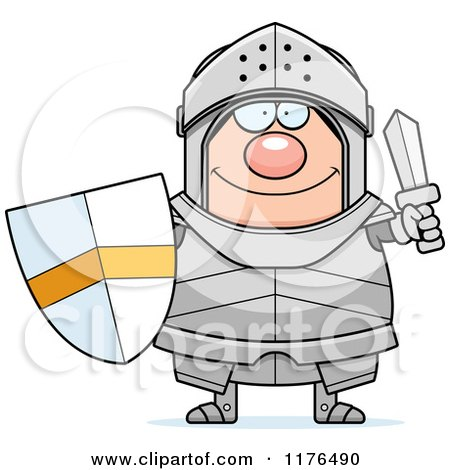 Happy Armoured Knight Holding a Sword and Shield Posters, Art Prints