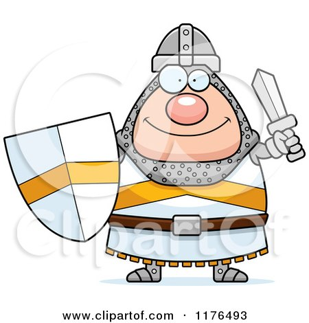 Happy Knight Holding a Sword and Shield Posters, Art Prints