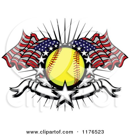 Clipart of a Softball with American Flags Stars and a Banner - Royalty Free Vector Illustration by Chromaco